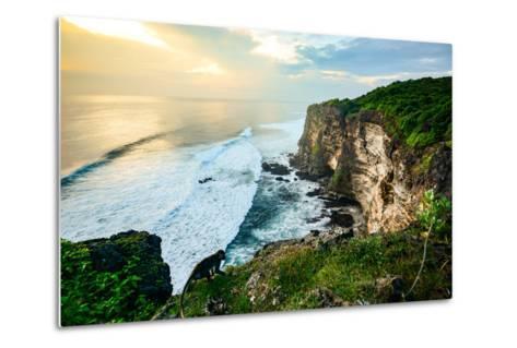 Scenic Coastal Landscape of High Cliff at Sunset near Uluwatu Temple, Bali Island, Indonesia- Zephyr_p-Metal Print