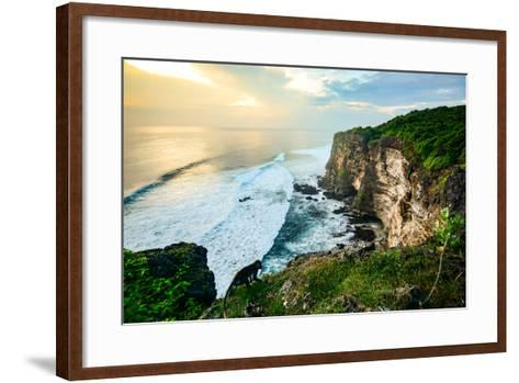 Scenic Coastal Landscape of High Cliff at Sunset near Uluwatu Temple, Bali Island, Indonesia- Zephyr_p-Framed Art Print