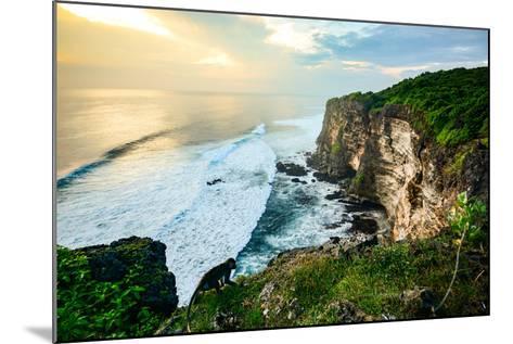 Scenic Coastal Landscape of High Cliff at Sunset near Uluwatu Temple, Bali Island, Indonesia- Zephyr_p-Mounted Photographic Print