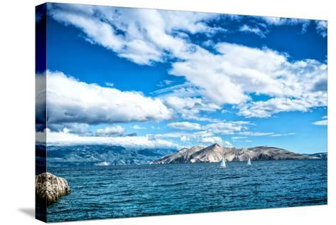 Island Seaside or Ocean Landscape, Travel Image of Boats, Clear Sky and Water. Cliffs and Ocean Lan- bogdanhoda-Stretched Canvas Print