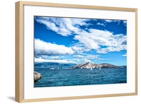 Island Seaside or Ocean Landscape, Travel Image of Boats, Clear Sky and Water. Cliffs and Ocean Lan- bogdanhoda-Framed Art Print