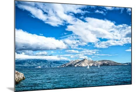 Island Seaside or Ocean Landscape, Travel Image of Boats, Clear Sky and Water. Cliffs and Ocean Lan- bogdanhoda-Mounted Photographic Print