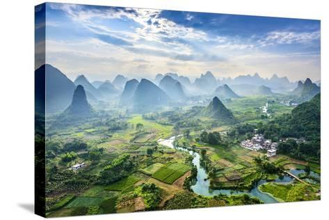 Landscape of Guilin, Li River and Karst Mountains. Located near Yangshuo County, Guilin City, Guang- aphotostory-Stretched Canvas Print
