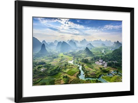 Landscape of Guilin, Li River and Karst Mountains. Located near Yangshuo County, Guilin City, Guang- aphotostory-Framed Art Print