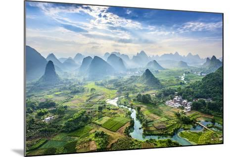 Landscape of Guilin, Li River and Karst Mountains. Located near Yangshuo County, Guilin City, Guang- aphotostory-Mounted Photographic Print