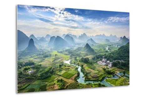 Landscape of Guilin, Li River and Karst Mountains. Located near Yangshuo County, Guilin City, Guang- aphotostory-Metal Print