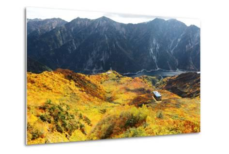 Aerial Panorama of a Scenic Cable Car Flying over the Beautiful Autumn Valley in Tateyama Kurobe Al-CHEN MIN CHUN-Metal Print