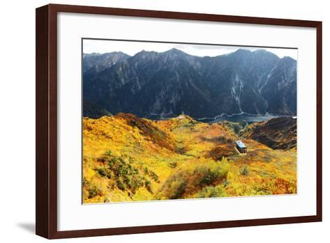 Aerial Panorama of a Scenic Cable Car Flying over the Beautiful Autumn Valley in Tateyama Kurobe Al-CHEN MIN CHUN-Framed Art Print