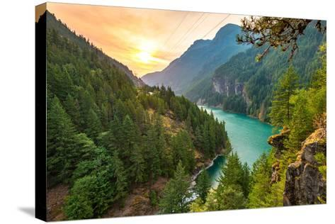 Scene over Diablo Lake When Sunrise in the Early Morning in North Cascade National Park,Wa,Usa- Checubus-Stretched Canvas Print
