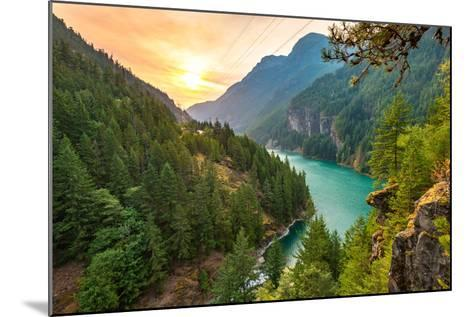Scene over Diablo Lake When Sunrise in the Early Morning in North Cascade National Park,Wa,Usa- Checubus-Mounted Photographic Print