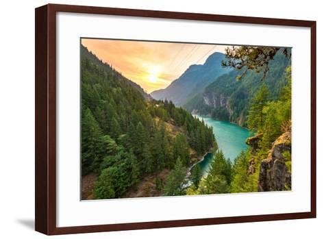 Scene over Diablo Lake When Sunrise in the Early Morning in North Cascade National Park,Wa,Usa- Checubus-Framed Art Print