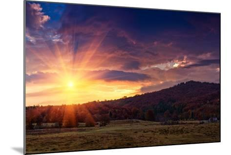 Panoramic View of the Dramatic Sunset in the Autumn Mountains. Colorful Forest on the Slopes. Old F-Volodymyr Martyniuk-Mounted Photographic Print