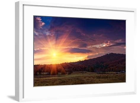 Panoramic View of the Dramatic Sunset in the Autumn Mountains. Colorful Forest on the Slopes. Old F-Volodymyr Martyniuk-Framed Art Print