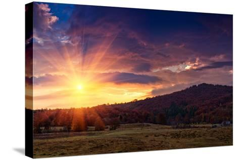 Panoramic View of the Dramatic Sunset in the Autumn Mountains. Colorful Forest on the Slopes. Old F-Volodymyr Martyniuk-Stretched Canvas Print