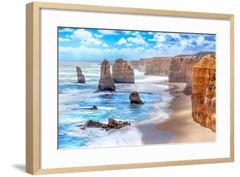 Twelve Apostles and Orange Cliffs along the Great Ocean Road in Australia-Tero Hakala-Framed Art Print
