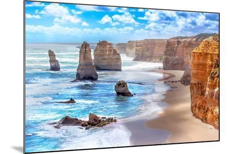 Twelve Apostles and Orange Cliffs along the Great Ocean Road in Australia-Tero Hakala-Mounted Photographic Print