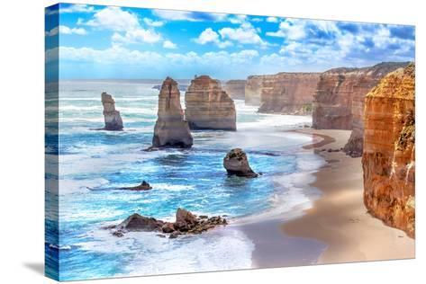 Twelve Apostles and Orange Cliffs along the Great Ocean Road in Australia-Tero Hakala-Stretched Canvas Print