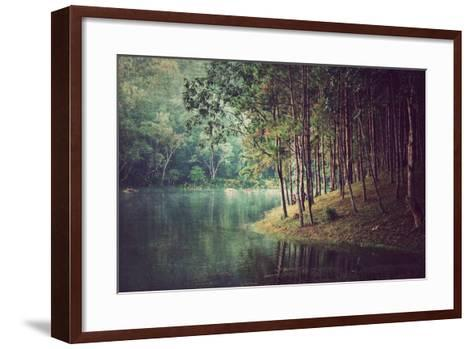 Forest Background ,Vintage Style- Nonnakrit-Framed Art Print