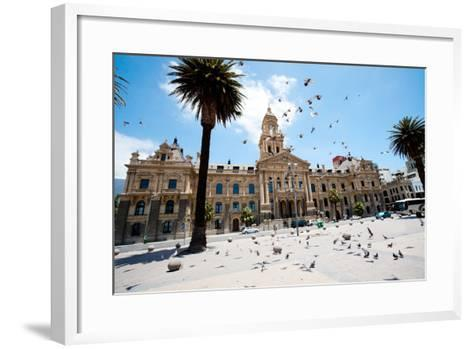 Pigeons Flying over City Hall of Cape Town, South Africa-michaeljung-Framed Art Print