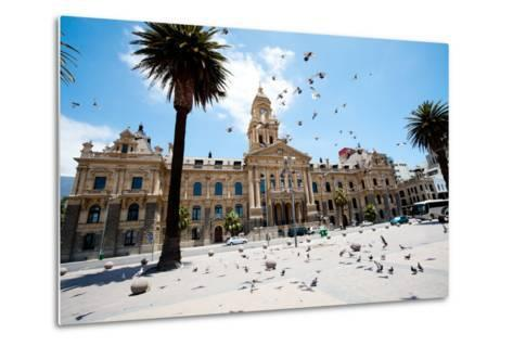 Pigeons Flying over City Hall of Cape Town, South Africa-michaeljung-Metal Print