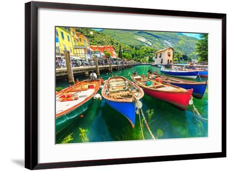 Summer Landscape and Wooden Boats,Lake Garda,Torbole Town,Italy,Europe-Gaspar Janos-Framed Art Print
