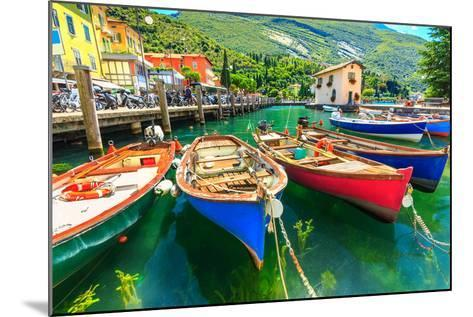 Summer Landscape and Wooden Boats,Lake Garda,Torbole Town,Italy,Europe-Gaspar Janos-Mounted Photographic Print