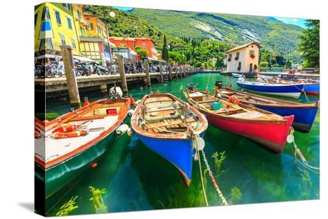 Summer Landscape and Wooden Boats,Lake Garda,Torbole Town,Italy,Europe-Gaspar Janos-Stretched Canvas Print