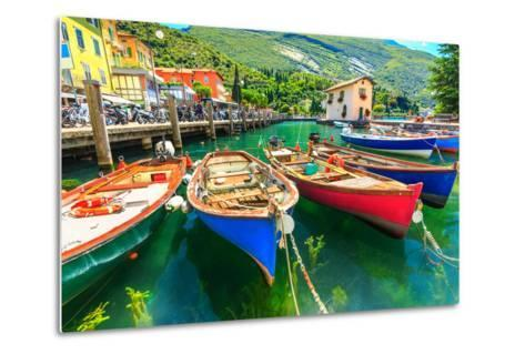 Summer Landscape and Wooden Boats,Lake Garda,Torbole Town,Italy,Europe-Gaspar Janos-Metal Print