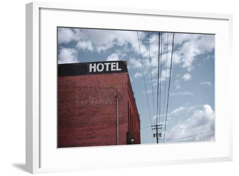 Old Dilapidated Brick Motel with Cloudy Sky- J D S-Framed Art Print