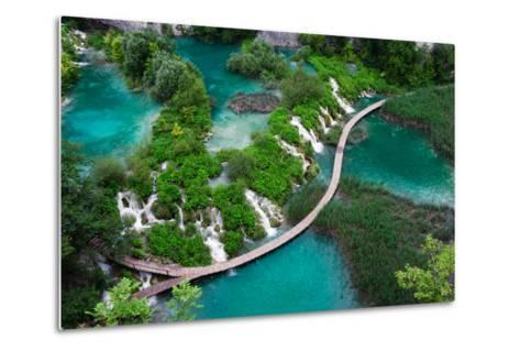 Waterfalls in Plitvice National Park. Aerial View. One Vivid Turquoise Lake Flows into Another.-Evgeniya Moroz-Metal Print