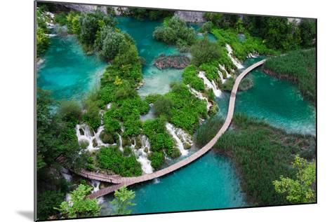Waterfalls in Plitvice National Park. Aerial View. One Vivid Turquoise Lake Flows into Another.-Evgeniya Moroz-Mounted Photographic Print