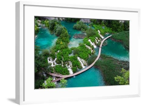 Waterfalls in Plitvice National Park. Aerial View. One Vivid Turquoise Lake Flows into Another.-Evgeniya Moroz-Framed Art Print