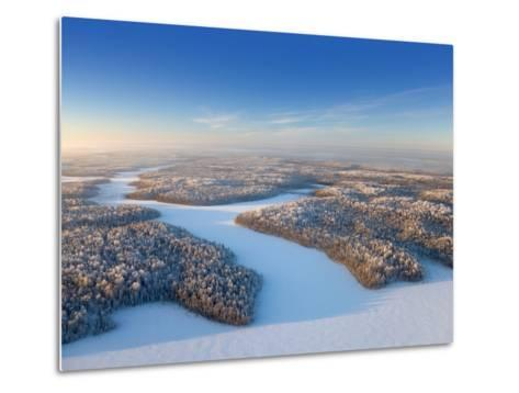 Aerial View of Forest Plain in Time of Sunny Winter Day.-Vladimir Melnikov-Metal Print
