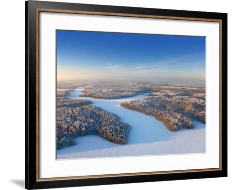 Aerial View of Forest Plain in Time of Sunny Winter Day.-Vladimir Melnikov-Framed Art Print