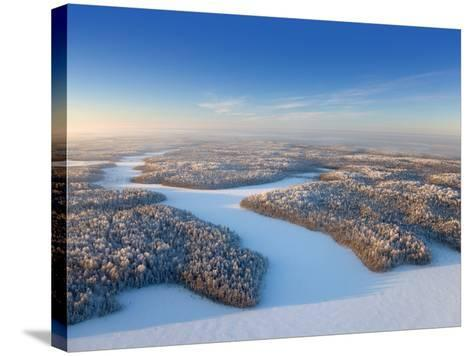 Aerial View of Forest Plain in Time of Sunny Winter Day.-Vladimir Melnikov-Stretched Canvas Print