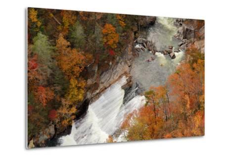 Kayakers Contemplate Going down a Rapid Viewed from above at Tallulah Gorge, Georgia.-ESB Professional-Metal Print