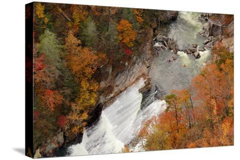 Kayakers Contemplate Going down a Rapid Viewed from above at Tallulah Gorge, Georgia.-ESB Professional-Stretched Canvas Print