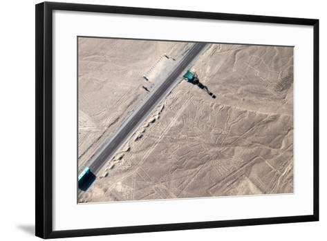 Aerial View of Geoglyphs near Nazca - Nazca Lines, Peru. in the Center, Tree Figure is Present, on-Matyas Rehak-Framed Art Print