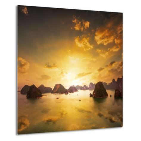 Sunset over the Islands of Halong Bay in Northern Vietnam. Amazing Landscape Background-Banana Republic images-Metal Print