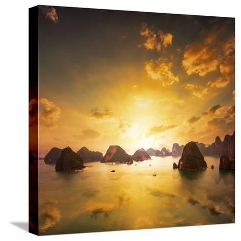 Sunset over the Islands of Halong Bay in Northern Vietnam. Amazing Landscape Background-Banana Republic images-Stretched Canvas Print