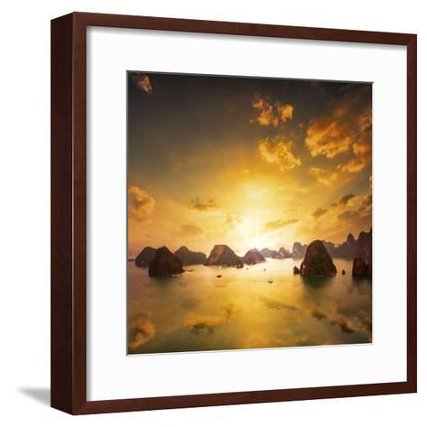 Sunset over the Islands of Halong Bay in Northern Vietnam. Amazing Landscape Background-Banana Republic images-Framed Art Print