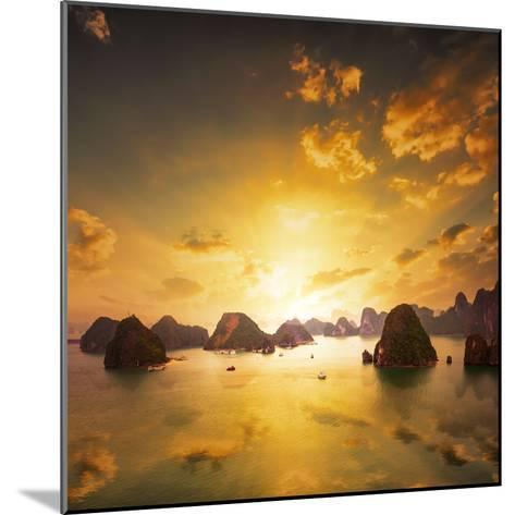 Sunset over the Islands of Halong Bay in Northern Vietnam. Amazing Landscape Background-Banana Republic images-Mounted Photographic Print