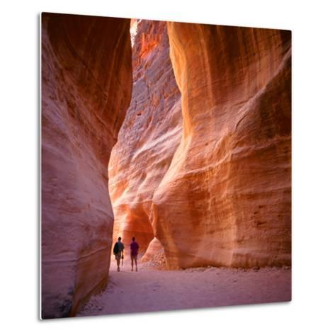 The Siq, the Narrow Slot-Canyon that Serves as the Entrance Passage to the Hidden City of Petra, Jo-robert paul van beets-Metal Print