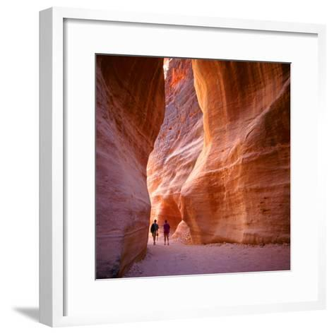 The Siq, the Narrow Slot-Canyon that Serves as the Entrance Passage to the Hidden City of Petra, Jo-robert paul van beets-Framed Art Print
