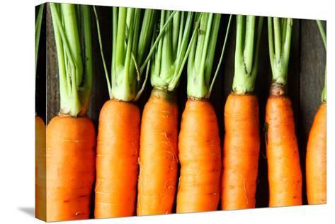 Raw Fresh Carrots with Tails, Top View-Olha Afanasieva-Stretched Canvas Print