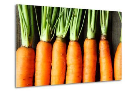 Raw Fresh Carrots with Tails, Top View-Olha Afanasieva-Metal Print