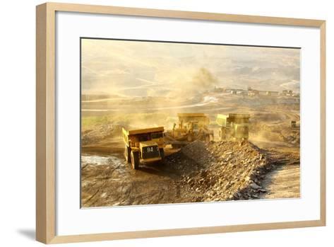 The Trucks at Worksite-SARIN KUNTHONG-Framed Art Print