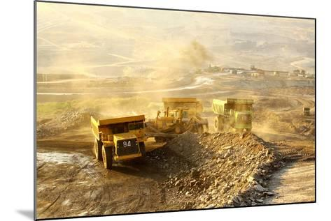 The Trucks at Worksite-SARIN KUNTHONG-Mounted Photographic Print