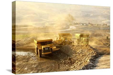 The Trucks at Worksite-SARIN KUNTHONG-Stretched Canvas Print