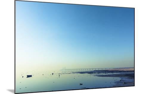 The Bridge between Denmark and Sweden, Oresundsbron, in Early Morning Light in April.- kimson-Mounted Photographic Print